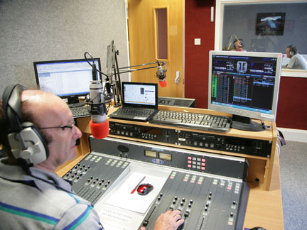 Jon Sketchley of Hermitage FM broadcasting with Ots software to power the station